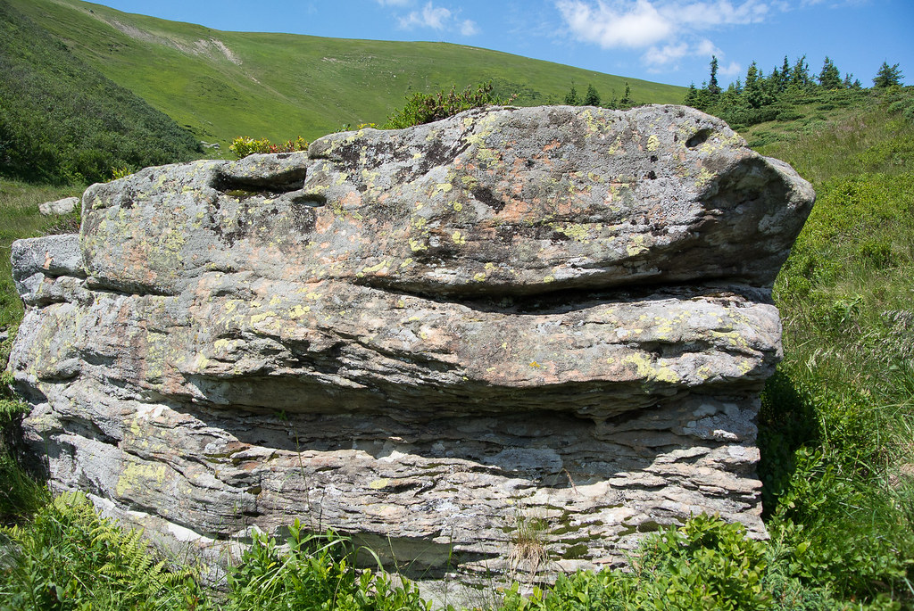 Glacial erratics covered with lichen