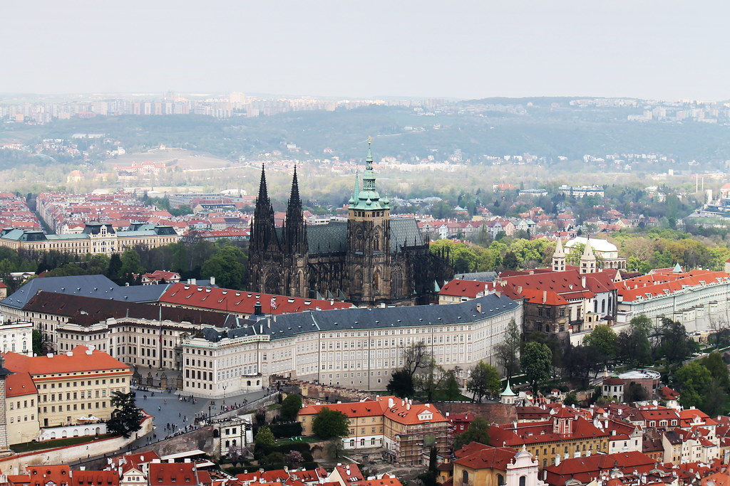 St Vitus Cathedral and Hradčany seen from Petřín.