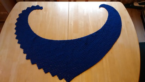 Iron Craft 2015 #15 - Blue Skies I took this opportunity to finish off a blue project I started a little while ago. Blue crochet snowdrop shawl.