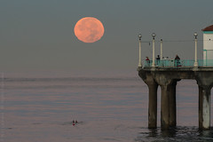 Supermoon and the Pier