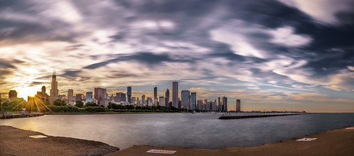 city travel light sunset sea sky urban panorama sun chicago seascape motion clouds buildings landscape geotagged photography us photo illinois unitedstates sony fullframe onsale ultrawide a7 longexspoure sonya7 sonyfe1635