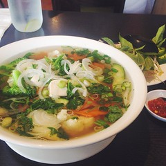 Tofu Pho at Pho Hut and Grill. While this dish is pretty basic for veggie pho, I dig the contemporary atmosphere and relaxed yet attentive service. Plus they have a full vegetarian page--most of which is vegan :) #vegan #vegansofig #sandiego #veganfoodsha