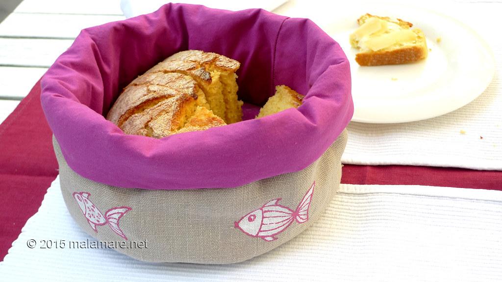 Handmade linen bread basket