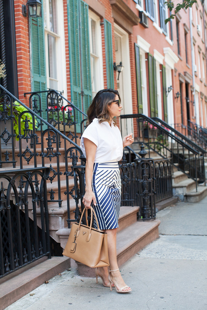 work outfit what to wear to work chevon skirt j.crew work inspiration professional looks what to wear to work in the summer fitted skirts fashion blogger corporate fashion blogger workwear prada tote perfect bag for the office trendlee