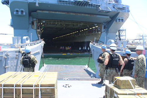 CORONADO, Calif. - Landing Craft Utility 1617 (LCU-1617) delivers ammunition to USS Boxer (LHD 4) in preparation for Seattle Seafair 2015.