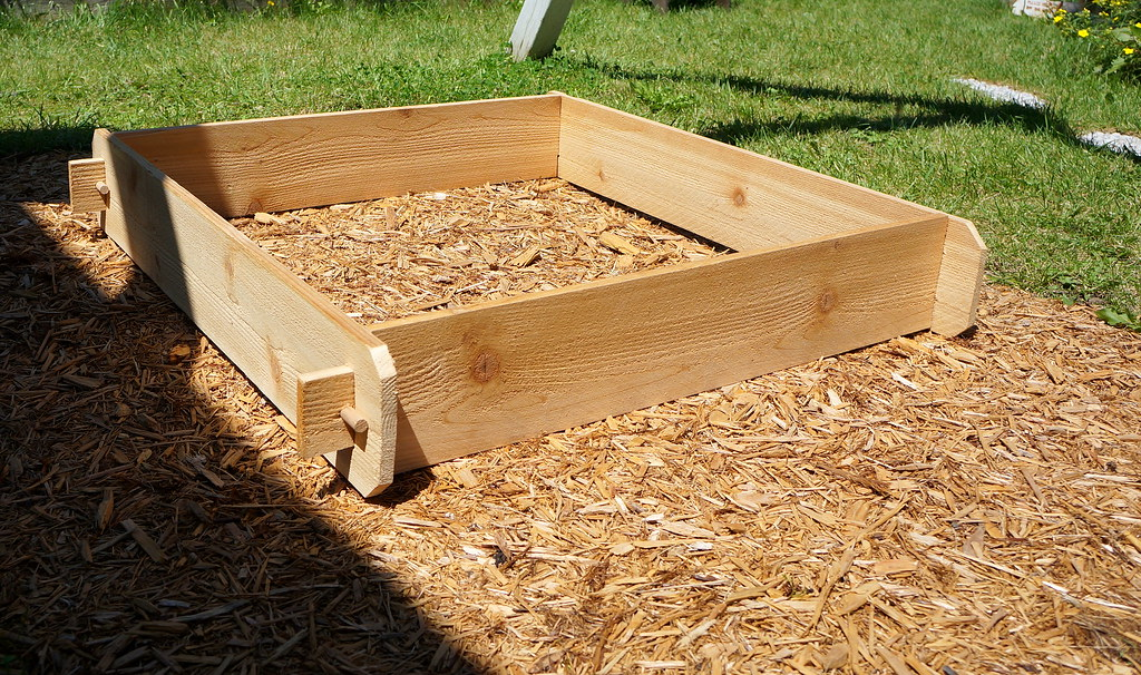 Cedar raised garden planter bed kit outdoor large wood for Garden decking kits on ebay