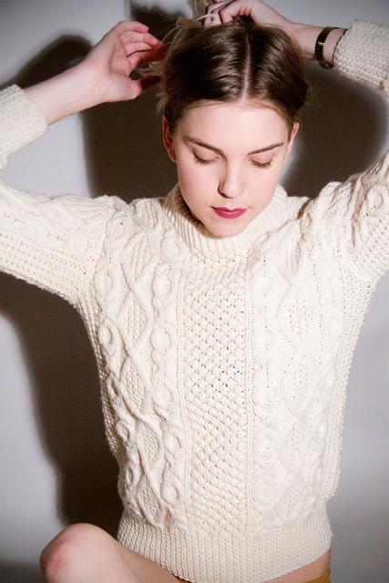 Sexy women in aran wool sweater