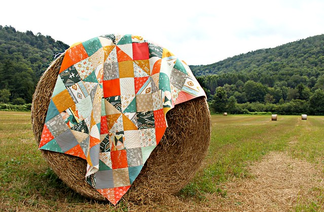 A Summer Harlequin Quilt Top in Bound