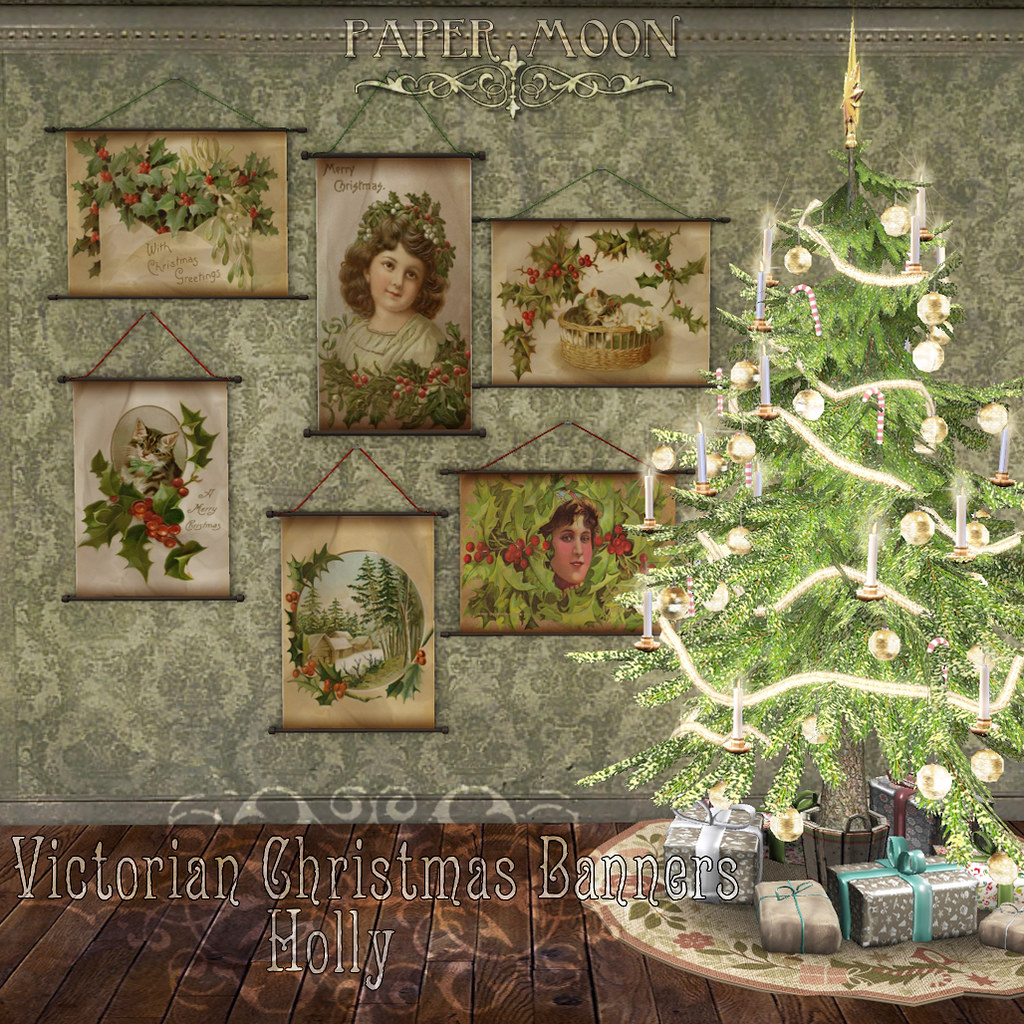 *pm* Victorian Christmas Banners - Holly - SecondLifeHub.com