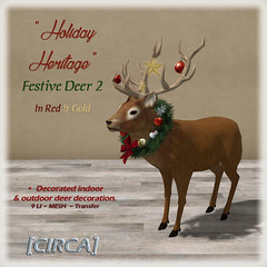 Holiday Heritage - Festive Deer - Red & Gold