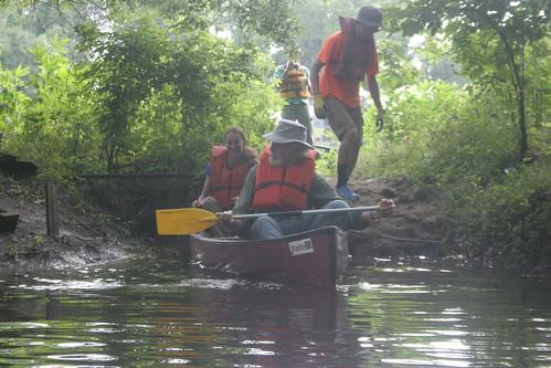 Launching a canoe.
