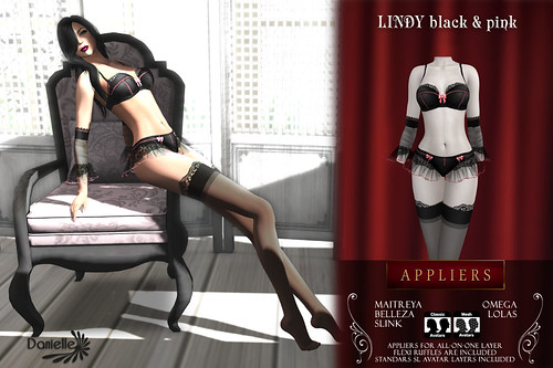 DANIELLE Lindy Black And Pink Appliers And Classic