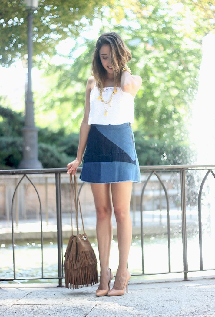Denim Skirt White Top Outfit01