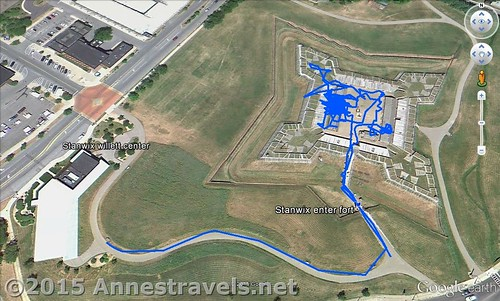 Visual map of my time inside Fort Stanwix - the big blue blotch is the Gregg Building, Rome, New York
