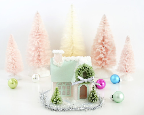 How to add snow and glitter to a putz house / AllThingsPaper.net
