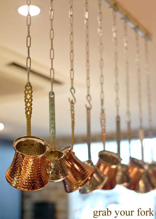 Turkish coffee copper tins at Hakiki Turkish Ice Cream, Newtown