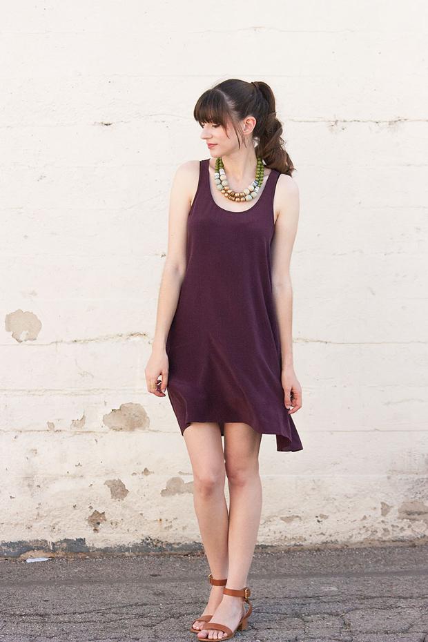 Everlane Silk Dress, ShoeMint Sandals, Statement Necklace