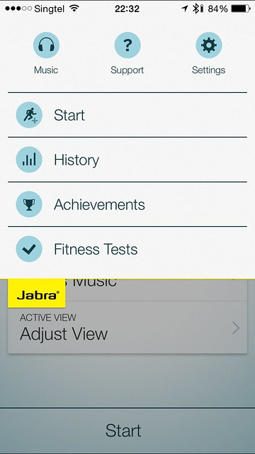 Jabra Sport iOS App - Slide Down Menu