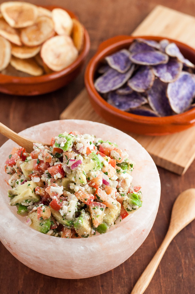 Make-ahead avocado feta salsa--it'll disappear first at your next party!