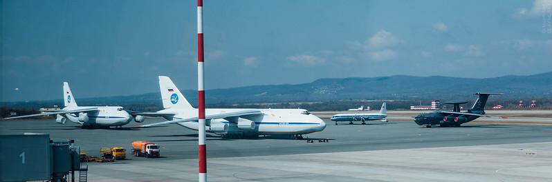 "Two Antonov An-124 (Condor) planes, Ilyushin Il-18 (Coot) and Beriev A-50U (Mainstay) ""Vladimir Ivanov"""