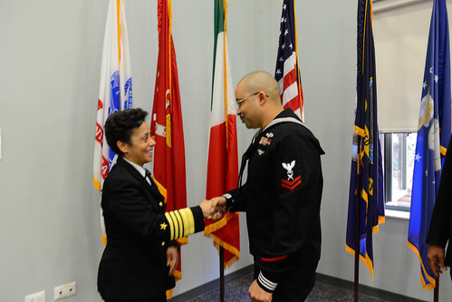 Fri, 01/27/2017 - 10:45 - 170127-N-SS492-595 NAVAL SUPPORT ACTIVITY NAPLES, Italy (Jan. 27, 2017) Commander, U.S. Naval Forces Europe-Africa, Adm. Michelle Howard, left, congratulates U.S. Naval Forces Europe-Africa Junior Sailor of the Year Yeoman 2nd Class Eric Horne at the Commander, U.S. Naval Forces Europe-Africa Sailor of the Year ceremony Jan. 27, 2017.  U.S. Naval Forces Europe-Africa, headquartered in Naples, Italy, oversees joint and naval operations, often in concert with allied, joint, and interagency partners, to enable enduring relationships, and increase vigilance and resilience in Europe and Africa. (U.S. Navy photo by Chief Mass Communication Specialist Brian P. Biller/Released)