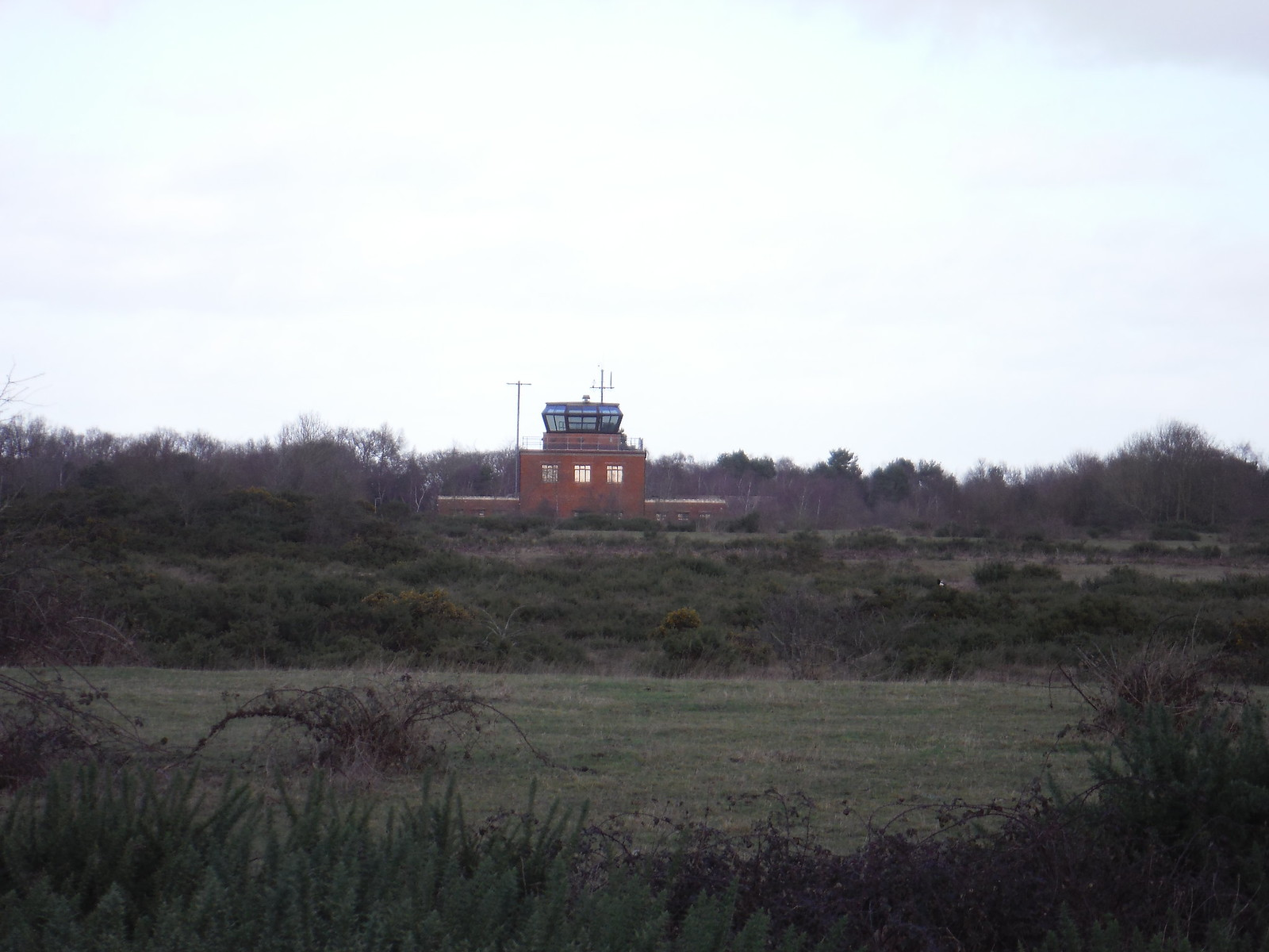 Greenham Common: Control Tower (Grade II listed) SWC Walk 34 Newbury Racecourse to Woolhampton (Midgham Station)