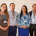 Paloma Schwaner, jefa de Suministros SX-EW de Tecnologías Cobra; Miguel Rodríguez, de Minera Escondida; María Fernanda Zuleta, jefa de Control de Calidad de Tecnologías Cobra, y Alejandro Olivares, de Minera Escondida