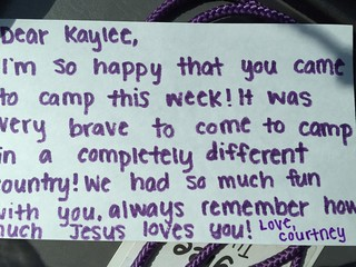 Card from Camp staff