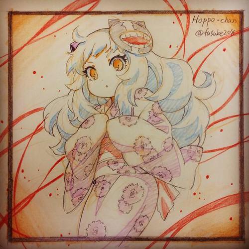 150802 - TOP繪天才...人物設計師「松本健太郎」:《艦これ》北方棲姬「ほっぽちゃん」的可愛浴衣姿!