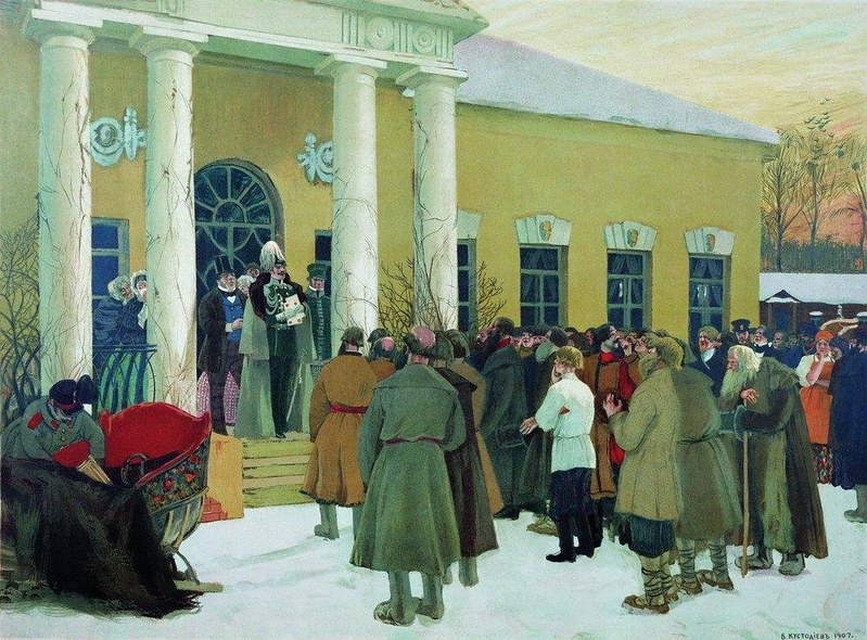 Muzhiks listening to the proclamation of the Emancipation Manifesto in 1861, by Boris Kustodiev
