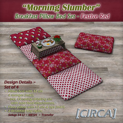 "@ Winter Trend ~ [CIRCA] - ""Morning Slumber"" - Breakfast Pillow Bed Set - Festive Red"