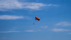 vehicle(0.0), sailing(0.0), hot air ballooning(0.0), toy(0.0), parachute(1.0), air sports(1.0), sports(1.0), parasailing(1.0), parachuting(1.0), windsports(1.0), extreme sport(1.0), blue(1.0), sky(1.0), flight(1.0),