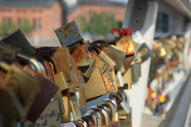 Love locks at Bryggebroen