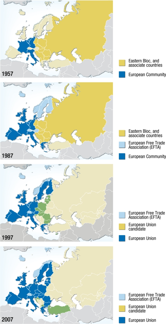 The expansion of the European Union, political map 1957