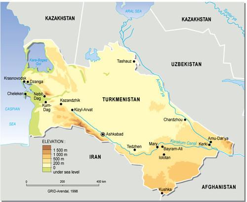 turkmenistan  topographic map