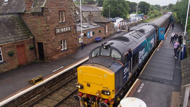 Cumbrian Coast loco hauled service, St Bees station