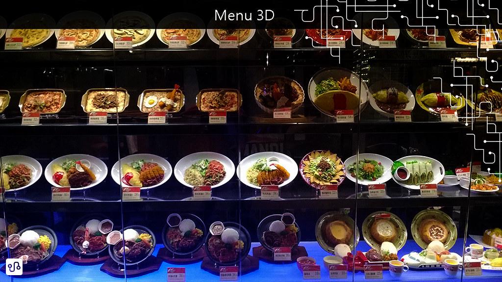 É comum os cardápios terem fotos ou a descrição em inglês. Em alguns restaurantes a fachada coberta por uma espécie de cardápio 3D.