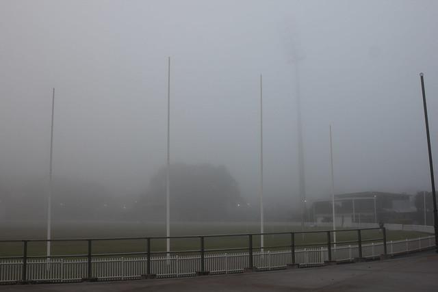 Foggy dawn at footy