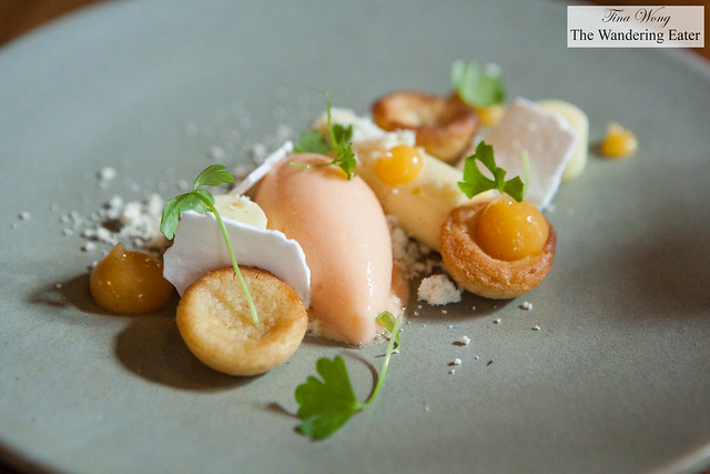Lemon cream, melon sorbet, verbena meringue, peach puree, shortbread