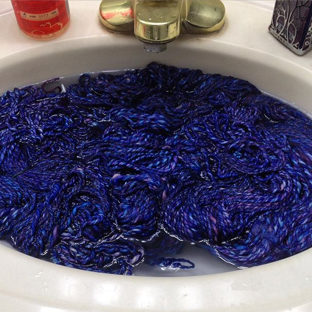 Washing, plying, thwacking of new yarns have begun! #tdf2015