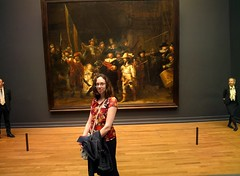 Amy and Rembrandt's Night Watch, Rijksmuseum #throughglass