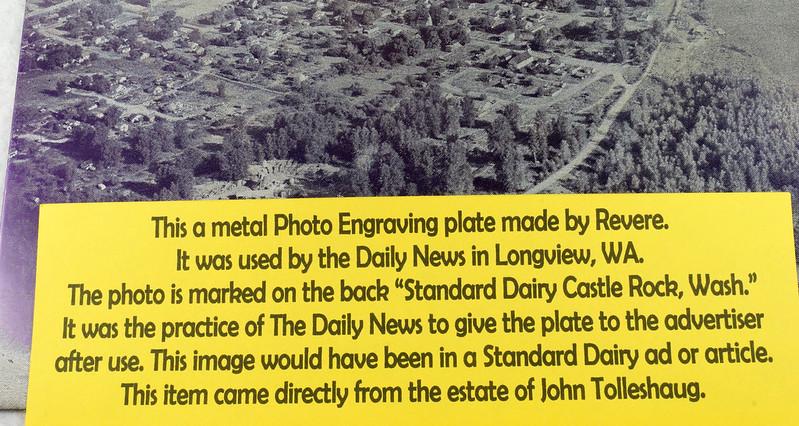 RD7629 Vintage Longview Daily News Metal Photo Advertising Plate Standard Dairy Castle Rock, Wash. DSC07935