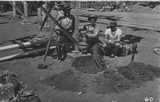Workers digging at  Duwamish Substation site, 1955