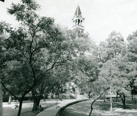 Burleson Quadrangle looking at Old Main, Baylor University, circa 1920s-1930s