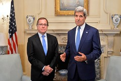 U.S. Secretary of State John Kerry and New Zealander Foreign Minister Murray McCully address reporters before their bilateral meeting at the U.S. Department of State in Washington, D.C., on July 27, 2015. [State Department photo/ Public Domain]
