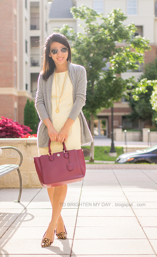 gray long cardigan, yellow dress, raspberry purple tote, leopard flats