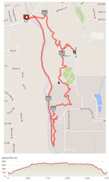 """Today""""s awesome walk, 4.31 miles in 1:43, 9,271 steps, 457ft gain"""