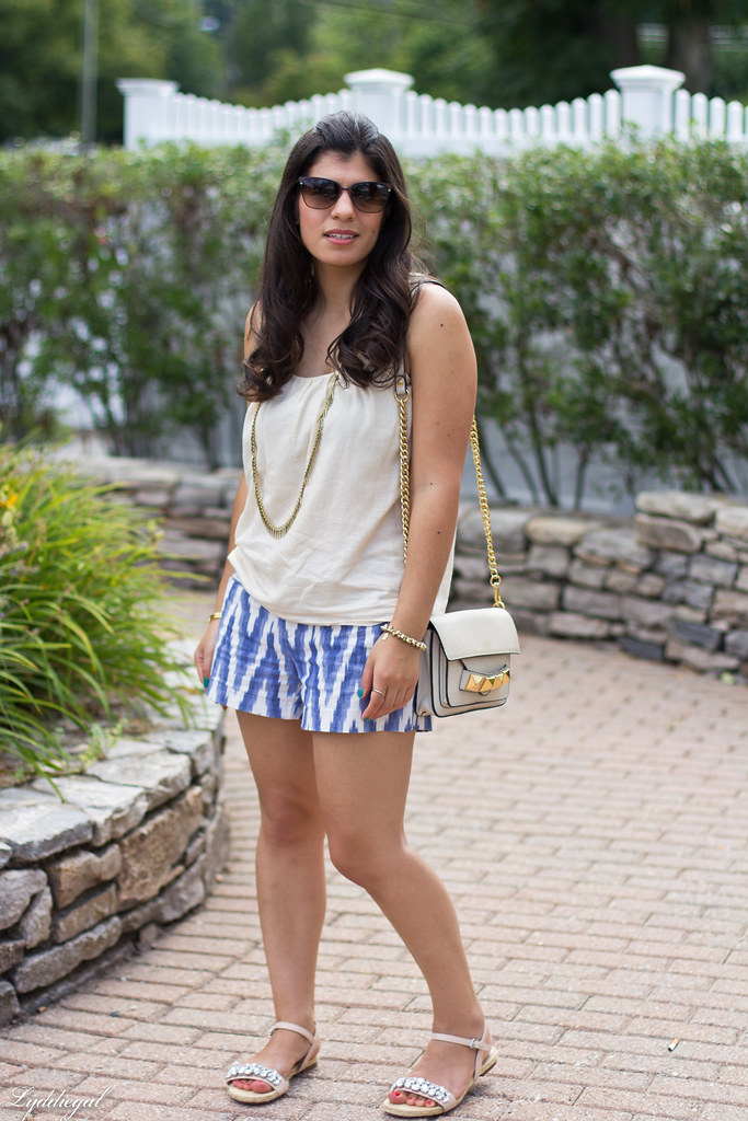 ikat print shorts, cream tank, jeweled sandals-3.jpg