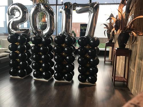 Ballonpilaar Breed Folieballon Cijfer Oud en Nieuw 2017 Watertuin Spijkenisse