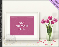 Styled White Table with Pink Tulips & Gold Confetti | 8x10 White Landscape Frame Mockup | Styled Stock Photography | JPG PNG Smart object